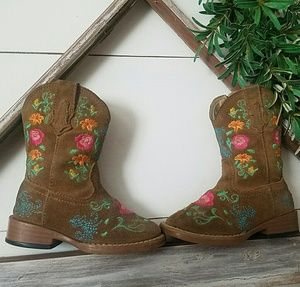 EUC Cowgirl Roper floral embroidered girl boots 5c